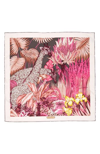 Women's Salvatore Ferragamo Silk Square Scarf, Size One Size - Pink