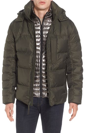 Andrew Marc Quilted Down Jacket With Zip Out Bib, Green