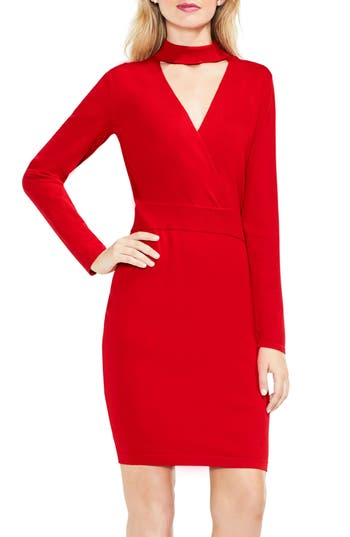 Women's Vince Camuto Mock Choker Neck Faux Wrap Dress, Size X-Small - Red