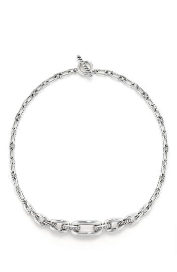 Women's David Yurman Wellesley Link Chain Station Necklace With Diamonds