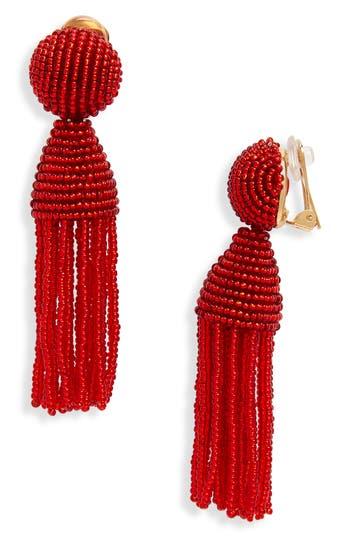 Women's Oscar De La Renta 'Classic Short' Tassel Drop Clip Earrings