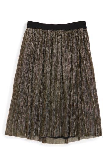 Girl's Little Marc Jacobs Pleated Metallic Skirt, Size 4 - Metallic