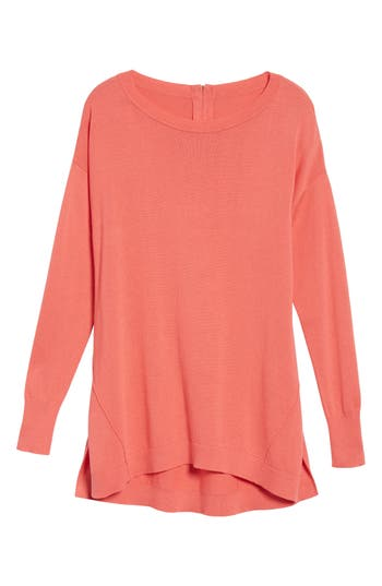 Women's Caslon Zip Back High/low Tunic Sweater, Size X-Small - Coral