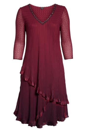 Plus Size Women's Komarov Tiered Ombrè Charmeuse & Chiffon Dress