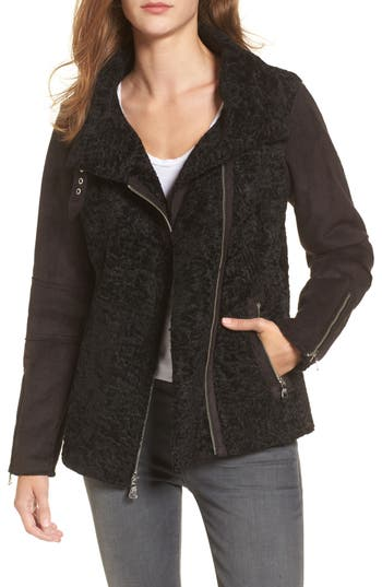 Women's Vince Camuto Faux Shearling Jacket, Size X-Small - Black