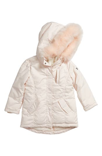 Girl's Armani Junior Hooded Coat With Faux Fur Trim