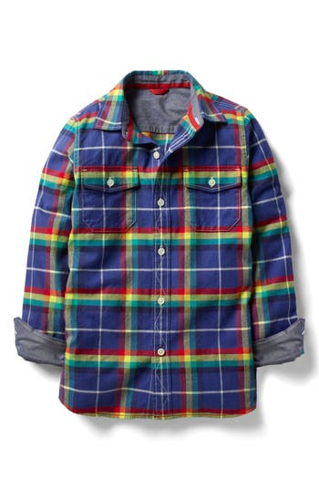 Boy's Mini Boden Brushed Check Flannel Shirt, Size 9-10Y - Blue