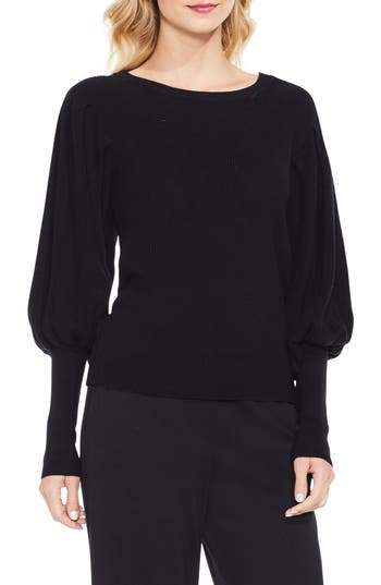 Women's Vince Camuto Bubble Sleeve Sweater, Size Large - Black