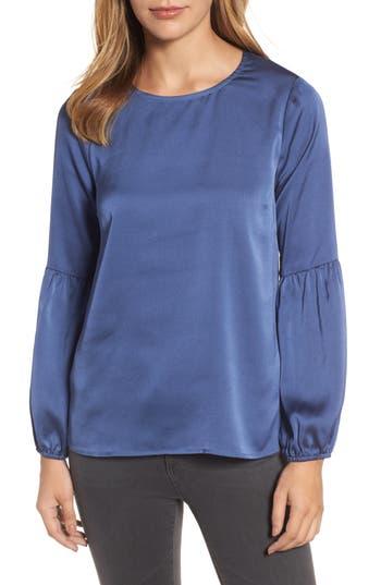 Women's Bobeau Bubble Sleeve Satin Top, Size XX-Small - Blue