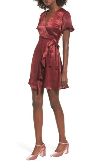 Women's Satin Faux Wrap Dress, Size X-Small - Burgundy