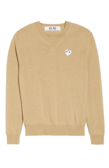 Comme Des Garcons Play White Heart Wool V-Neck Sweater, Beige