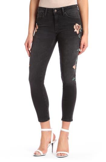 Women's Mavi Jeans Adriana Embroidered Skinny Jeans, Size 24 - Black