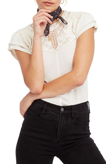 Free People Mariposa Lace Top, Ivory