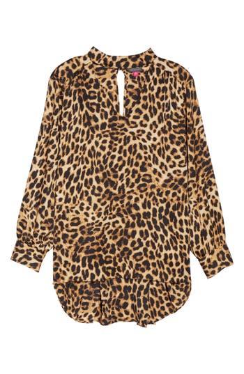 Plus Size Women's Vince Camuto Mock Choker Neck Leopard Print Top
