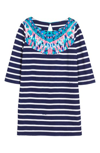 Girl's Lilly Pulitzer Little Bay Stripe Dress, Size S (4-5) - Blue