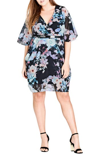 Plus Size Women's City Chic Water Love Belted Faux Wrap Dress, Size X-Small - Purple