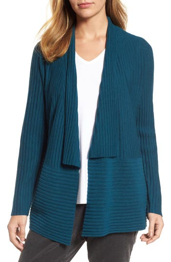Women's Eileen Fisher Ribbed Merino Wool Long Cardigan, Size XX-Small - Blue