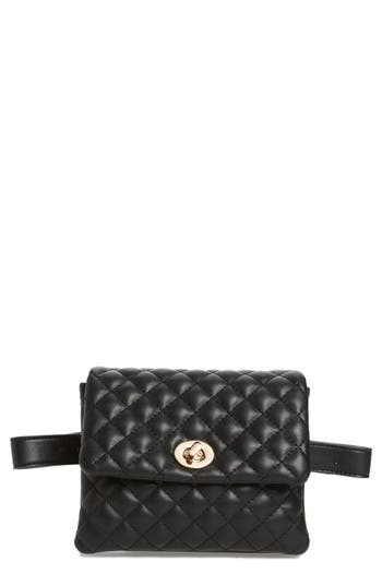 Mali + Lili Quilted Faux Leather Convertible Belt Bag - Black
