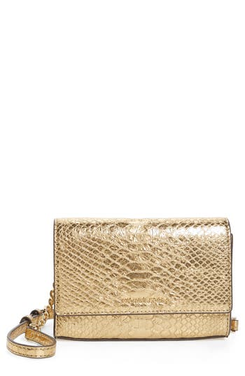 Michael Michael Kors Medium Ruby Metallic Snake-Embossed Leather Clutch - Metallic