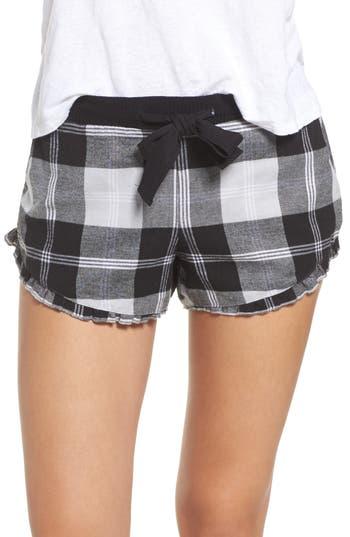 Women's Make + Model Ruffle Flannel Lounge Shorts, Size X-Small - Grey