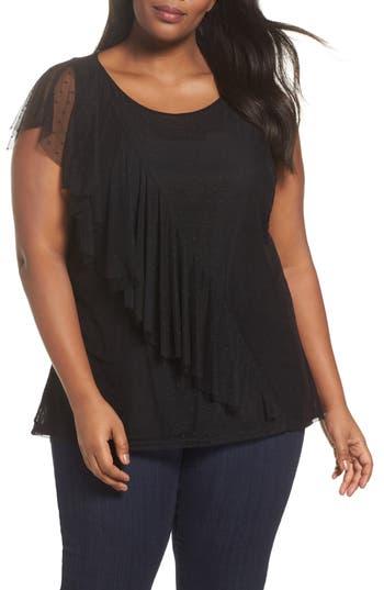 Plus Size Women's Sejour Ruffled Dot Mesh Top