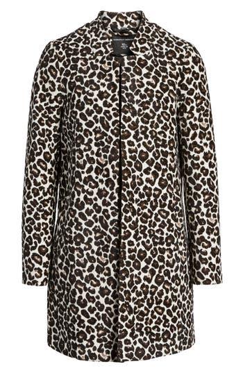 Women's Dorothy Perkins Leopard Print Car Coat, Size 4 US / 8 UK - Yellow