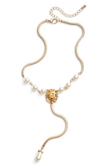 Women's Bp. Imitation Pearl & Flower Drop Necklace
