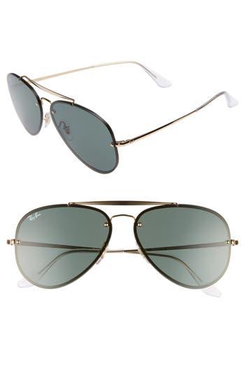 Women's Ray-Ban 61Mm Gradient Lens Aviator Sunglasses - Shiny Black