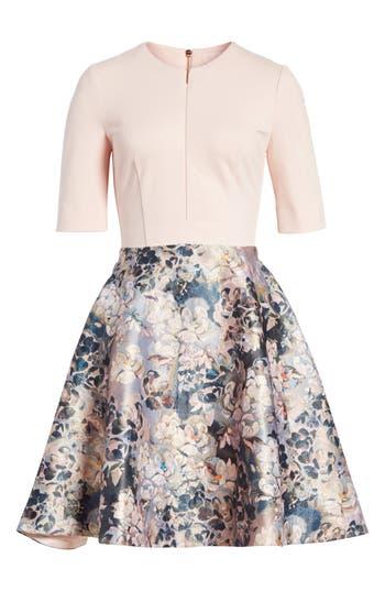 Ted Baker London Eloquent Jacquard Skater Dress, Pink