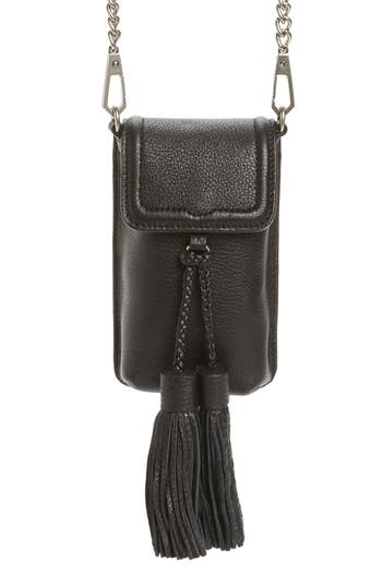 Rebecca Minkoff Isobel Phone Crossbody Bag With Genuine Rabbit Fur Guitar Strap - Black