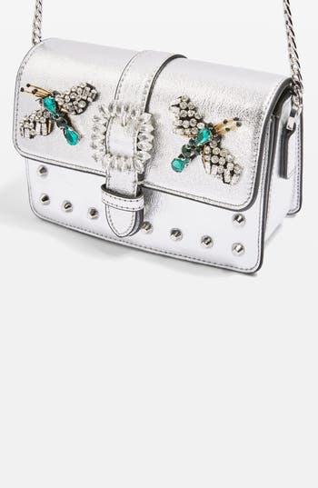 Topshop Rosie Jewel Embellished Faux Leather Crossbody Bag - Metallic