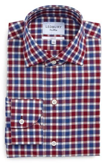 Men's Ledbury Slim Fit Check Dress Shirt, Size 15 - Blue