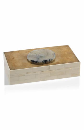 Zodax Bali Bone & Agate Jewelry Box - White