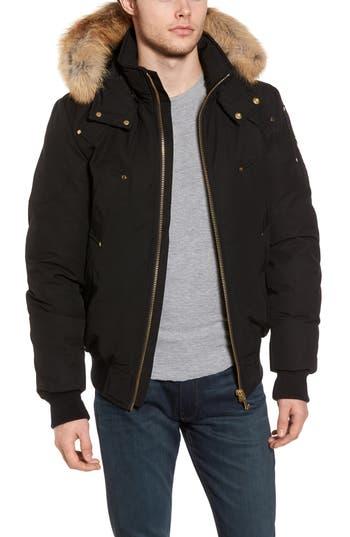 Moose Knuckles Red Deer Slim Bomber Jacket With Genuine Fox Fur Trim, Black