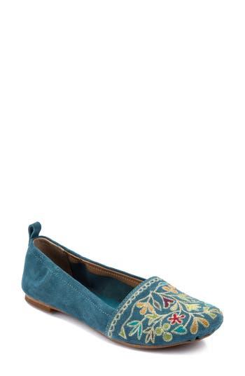 Women's Latigo Bliss Embroidered Flat, Size 6 M - Blue