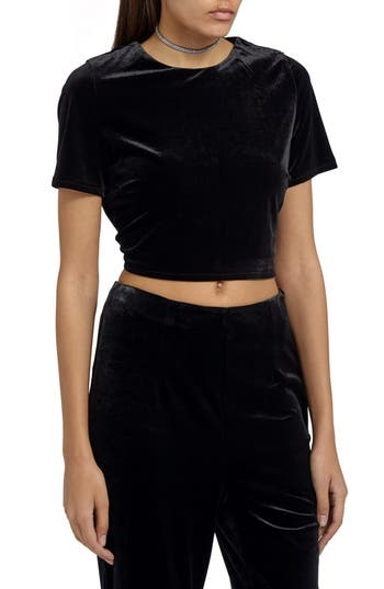 Women's Missguided Crop Velvet Tee