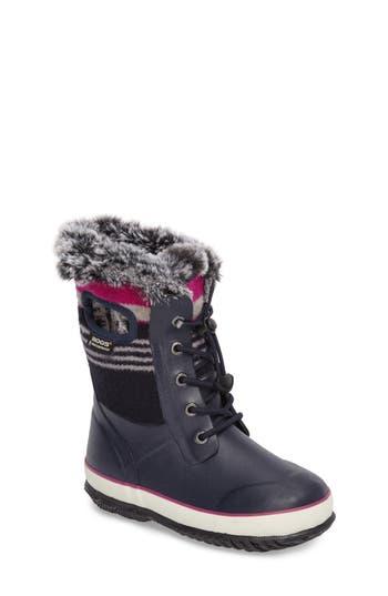 Girl's Bogs Arcata Stripe Waterproof Insulated Faux Fur Boot