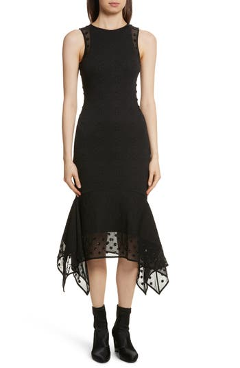 Opening Ceremony Medallion Jacquard Sequin Dress, Black