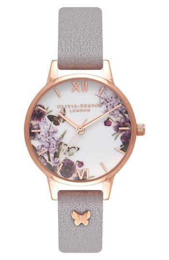 Women's Olivia Burton Enchanted Garden Embellished Leather Strap Watch, 30Mm