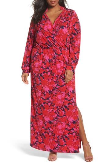 Plus Size Women's Leota Bridget Floral Faux Wrap Maxi Dress, Size 1X - Red