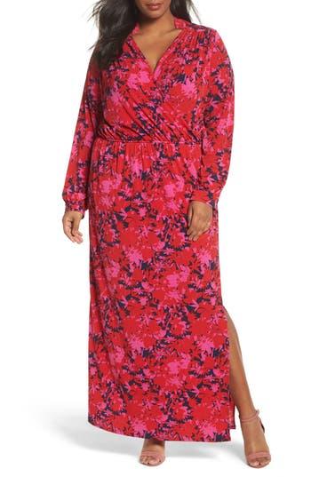 Plus Size Women's Leota Bridget Floral Faux Wrap Maxi Dress, Size 1X - Red