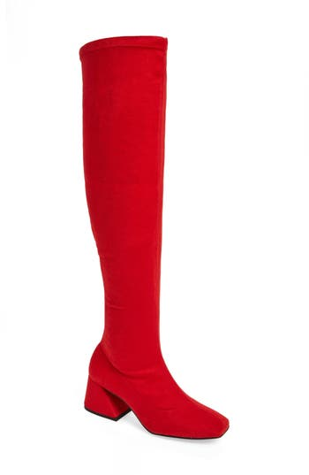 Topshop Cappuccino Over The Knee Boot - Red