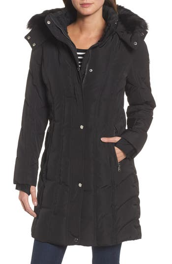 Women's Calvin Klein Hooded Down Parka With Faux Fur Trim, Size X-Small - Black