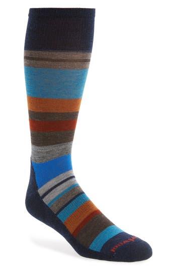 Men's Smartwool Saturnsphere Striped Wool Blend Socks, Size Medium - Blue