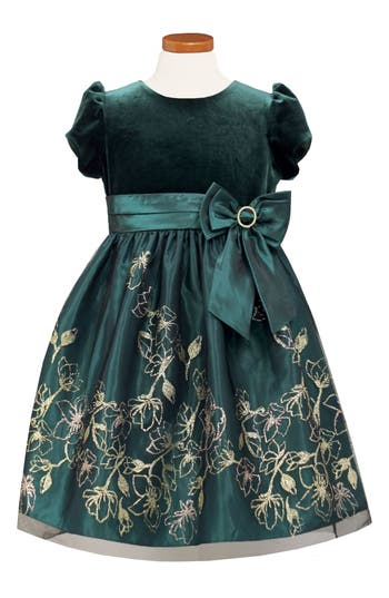 Kids 1950s Clothing & Costumes: Girls, Boys, Toddlers Toddler Girls Sorbet Velvet Bodice Fit  Flare Dress Size 3T - Green $70.00 AT vintagedancer.com