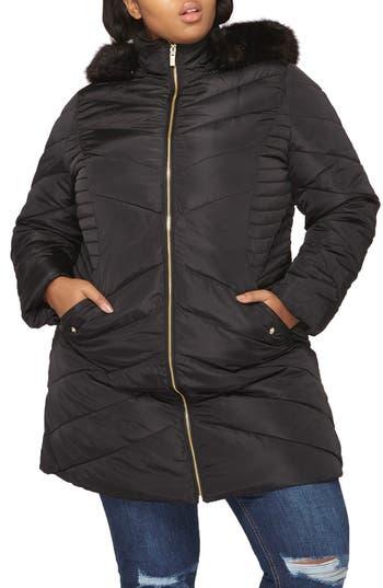 Plus Size Dorothy Perkins Faux Fur Trim Hooded Puffer Coat, US / 18 UK - Black