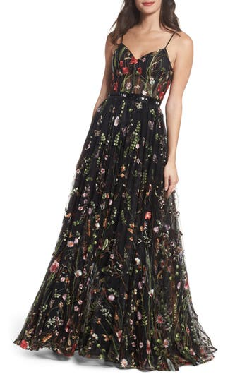 MAC Duggal Embroidered Bustier Gown, Black