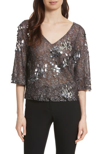 Women's Tracy Reese Sequin & Lace Crop Top