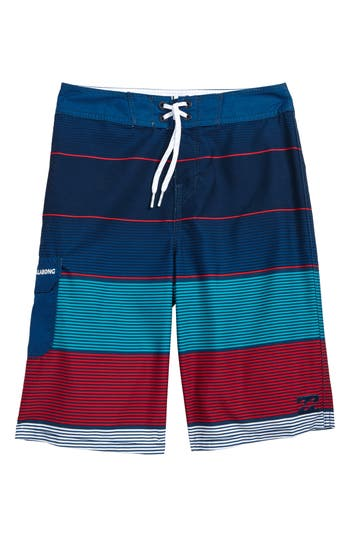 Boy's Billabong All Day Og Stripe Board Shorts, Size 22 - Blue/green
