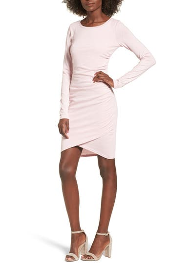 Leith Ruched Long Sleeve Dress, Pink